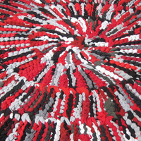 T Shirt Rug Circular Rag Rug Red Black Gray Modern Rustic 43 in diameter -- US Shipping Included
