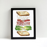 BLT Sandwich Print of Original Watercolor