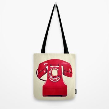 Red phone Tote Bag by Jessica Ivy