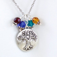 Tree of Life Necklace, Family Tree Necklace, Mothers Birthstone Necklace, Choose Up to 4 Birthstones.