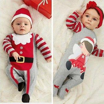 Christmas Newborn Baby Girl Boy Winter Clothes New Born Body Baby Ropa Next Baby Bodysuit Hat Headband Set