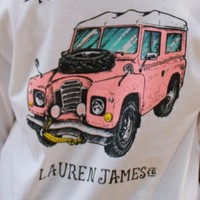 LAUREN JAMES: Prep My Ride Long Sleeve Sweet Tee Shirt - White