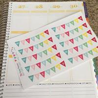 FREE SHIPPING D11 Weekend banner bunting flag stickers for Erin Condren Life Planner - set of 20