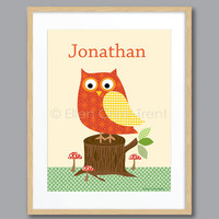 Kids Wall decor- Personalized owl print