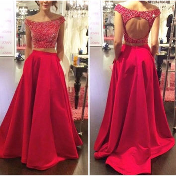 2017 New Two Piece Prom Dresses Long Red Bbeaded O-Neck vestidos de baile Formal Evening Party Gowns Open Back