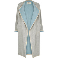 Grey check drape slouchy maxi coat