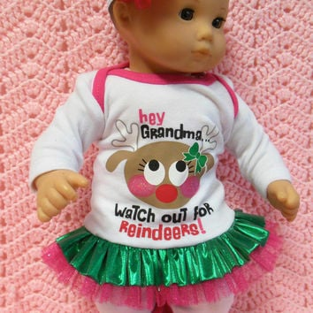 "American Girl Bitty Baby clothes Bitty Twins ""Watch Out For Reindeers"" (15 inch)  dress leggings socks hair clip headband leg warmers"