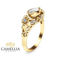 14KT Yellow Gold Leaf Ring, Yellow Gold Diamond Engagement Ring, Affordable Diamond Rings
