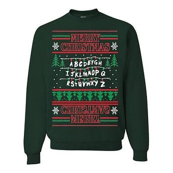 Stranger Things Upside Down Ugly Christmas Sweater Unisex Sweatshirt Forrest Green I