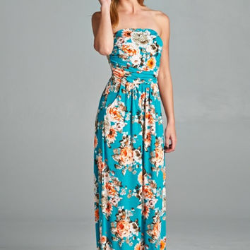 Another Day in Paradise Floral Maxi Dress - Turquoise