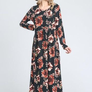 Mystic Eve Long Floral Dress - Black