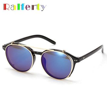 Ralferty Clip On Sunglasses Men Punk Steampunk Sunglass Eyewear Goggles Optic Sunglasses Reflective Mirror Sun Glasses 1509