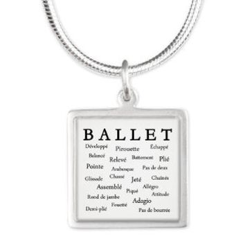 Ballet Words Square Necklace