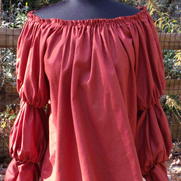 Pirate Wench Gypsy Renaissance Blouse Chemise Costume PUMPKIN SPICE