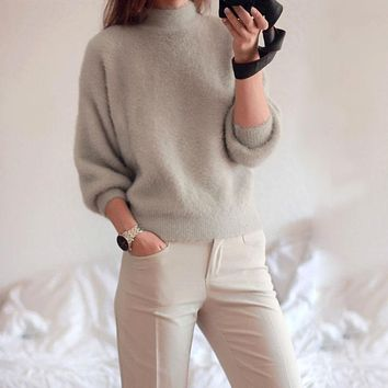 KATE TURTLENECK 3/4 LENGTH SLEEVE SWEATER - GREY