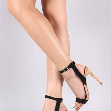 Suede Ankle Strap Cork Stiletto Heel