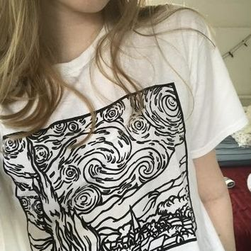 Starry Night Line Drawing Tee