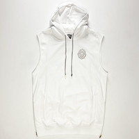 Aura Gold Mens Sleeveless Hoodie White  In Sizes