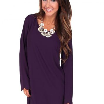 Hey Pretty Girl Purple Scalloped Shift Dress | Monday Dress Boutique