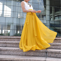 High Waist Maxi Skirt Chiffon Silk Skirts Beautiful Bow Tie Elastic Waist Summer Skirt Floor Length Long Skirt (037), #62