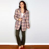 Vintage Blazer, Men's Blazer Jacket, Plaid Sport's Coat, Fall Winter Christmas Suit,