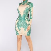 Miracles Can Happen Dress - Nude/Green