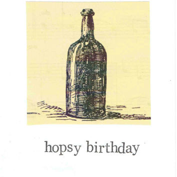 Hopsy Birthday Card Craft Beer Lover Brewing Booze Hops Happy Men For Him Vintage Bottle Rustic Nerdy Pun Hipster Funny Drinking Humor