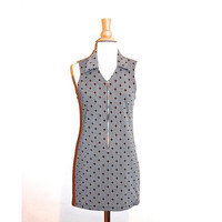 70s Twiggy Dress Mod Mad Men Sleeveless Micro Mini Dress Grey Red Zip Up Front size S