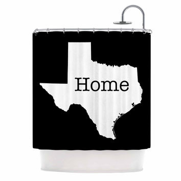 "Bruce Stanfield ""Texas State Outline"" Black White Shower Curtain"