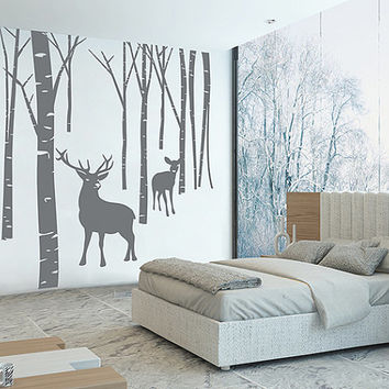 kik76 Wall Decal Sticker Room Decor Wall Art Mural deer animals forest birch bedroom living room