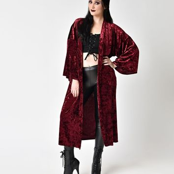 Burgundy Velvet Long Sleeve Midi Cardigan