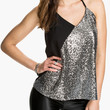 Silver and Black Halter Backless Sequined Top