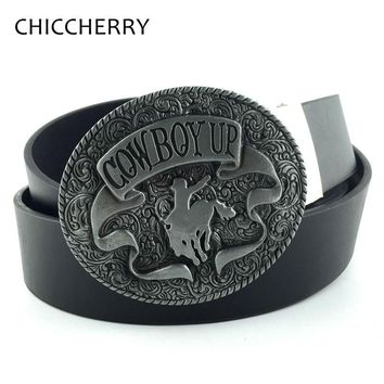 Vintage Oval Gray Cowgirl Cowboy Up Western Rodeo Metal Belt Buckles with Horse Riding PU Leather Belts For Men Hip Cinto Couro