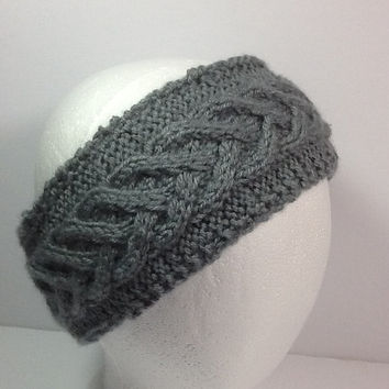 Cable Knit Headband, grey ear warmers, grey fleece lining,  wide knitted wrap