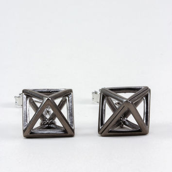 Hematite Hollow Octahedron Dangling Earrings