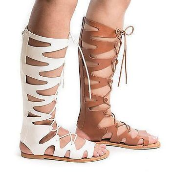 Bayside14S By Bamboo, Knee High Loop Cut Out Lace Up Roman Gladiator Flat Sandal
