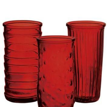 "Case of 12 - Red Glass Rose Vase Collection - 8.5"" Tall - Ships Alone"