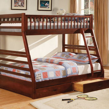 Furniture of america CM-BK601CH California ii cherry wood finish mission style twin over full bunk bed with front access ladder with 2 under bed drawers