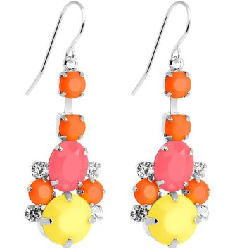 Clear Gem Multi Neon Balloons Chandelier Earrings
