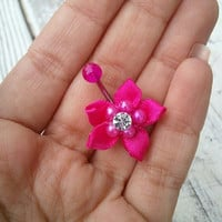 Belly Button Jewelry Hot Pink Rose Poinsettia Flower Navel Ring Piercing Stud Bar Barbell