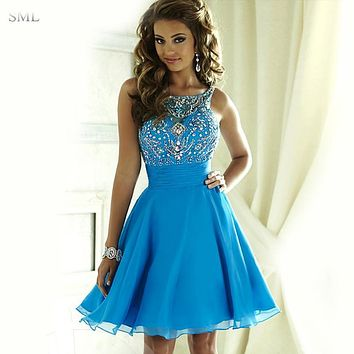 SML Backless Blue Chiffon Short Knee Length Crystal Cheap Cocktail Party Dresses 2016 vestidos de coktail para mujer