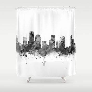 Houston Skyline Black and White Shower Curtain by monnprint