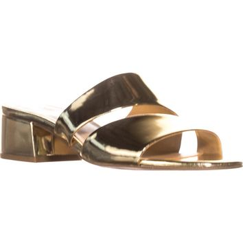 Franco Sarto Tallen Slip-on Heeled Sandals, Gold Metallic, 8.5 US / 38.5 EU