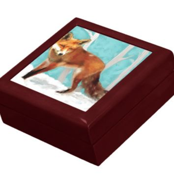 Keepsake/Jewelry Box - Red Fox - Mahogany Lacquer Box