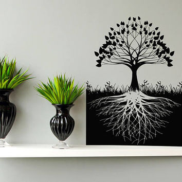 Tree of Life Wall Decal, Tree of Life Wall Sticker, Celtic Inspired Tree of Life Wall Decor Art, Tree Roots Decal Kabbalah Symbol Art se024