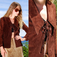 Vintage 70s Suede Jacket, MISS ETAM, Small Lace Up Top, Chocolate Brown Suede Leather Coat, 60's Mod Boho Hippie Chic, Pointed Collar Lapel
