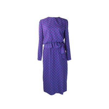 Vintage Secretary Dress Size 8, 80s Purple Teal Polka Dot Maxi Dress, Henry Lee Long Sleeve Polyester Ruffle Side Tie Bow Elastic Waist