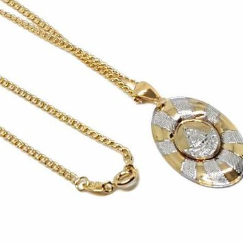 """1-2273-1774-f9 18kt Brazilian Gold Layered Two Tone Caridad Del Cobre Necklace. 24"""" Cuban link Chain. Pendant 18mm wide by 1.5 inch tall."""