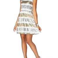 Waterfall Sequined Skater Dress