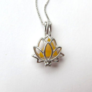 Golden Yellow Sea Glass Sterling Silver Lotus Flower Locket by Wave of LIfe